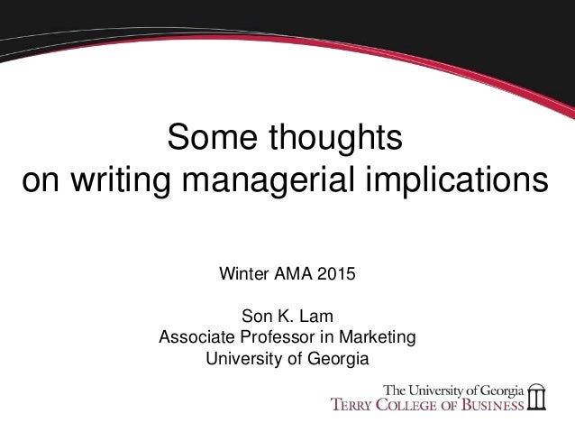 Thoughts On Writing Managerial Implications Son Lam