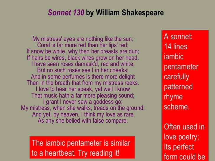 essay on shakespeare sonnet 130 Sonnet 130: the meaning analysis related gcse shakespeare's sonnets essays the presentation of women in shakespeare's sonnet 130 and griffin's sonnet 39.