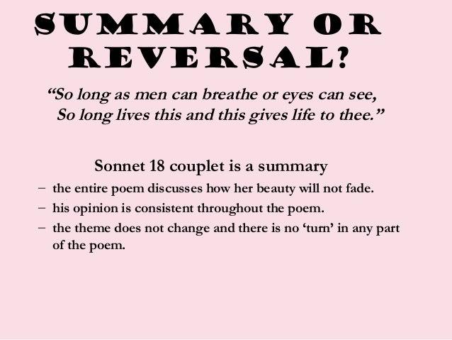 sonnet 18 short summary