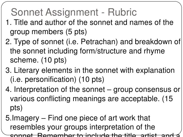 Sonnet Assignment - Rubric<br />1. Title and author of the sonnet and names of the group members (5 pts)<br />2. Type of s...