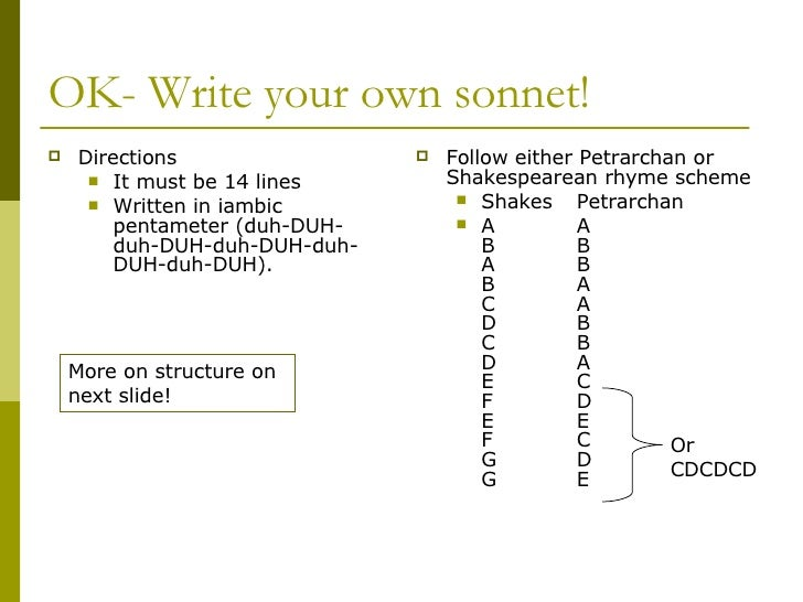 writing a shakespearean sonnet Sonnets: lesson plans for writing and reading them exploring the sonnet in this technology-integrated lesson, students explore shakespeare's sonnet 18 and an.