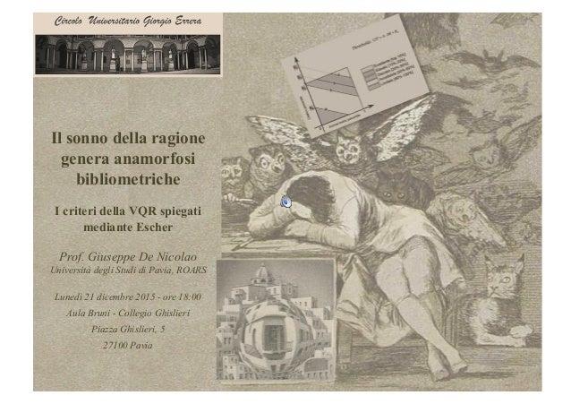 Il sonno della ragione genera anamorfosi bibliometriche I criteri della VQR spiegati mediante Escher Prof. Giuseppe De Nic...
