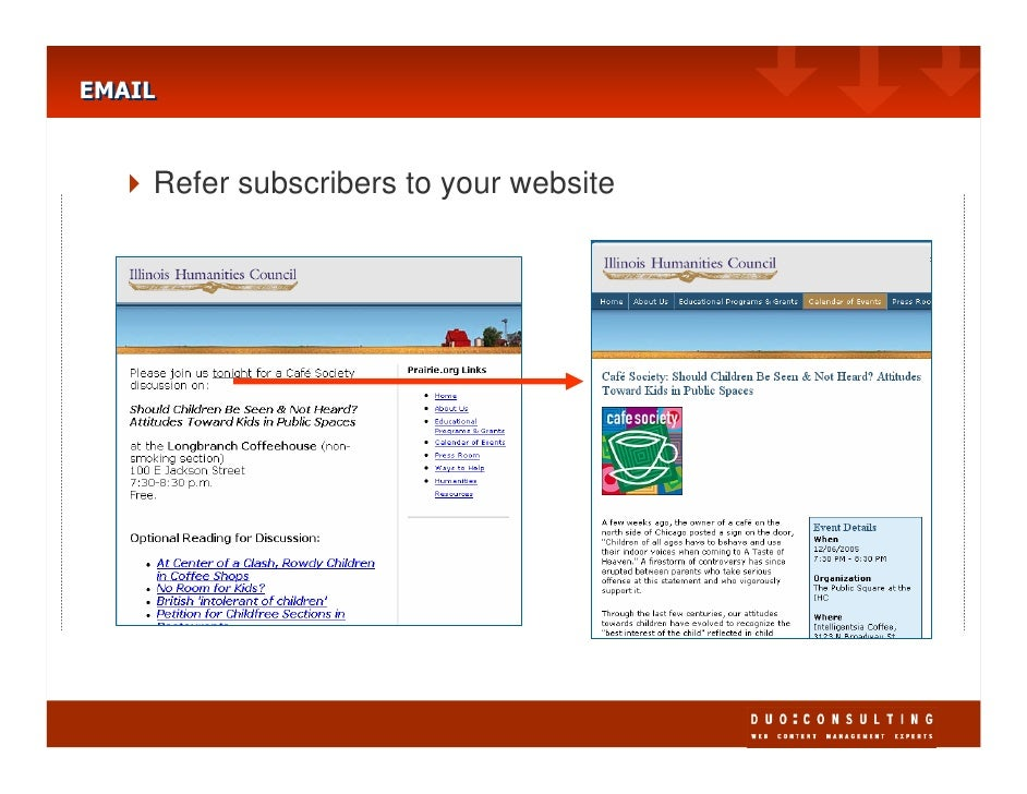 EMAIL EMAIL       Refer subscribers to your website