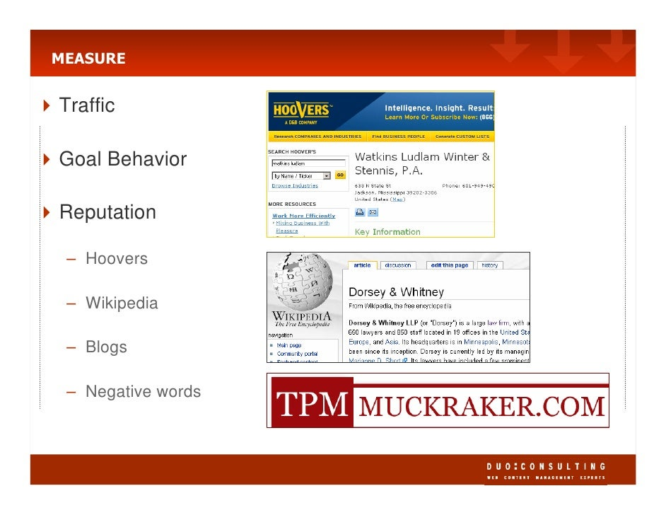 MEASURE   Traffic  Goal Behavior  Reputation   – Hoovers   – Wikipedia   – Blogs   – Negative words