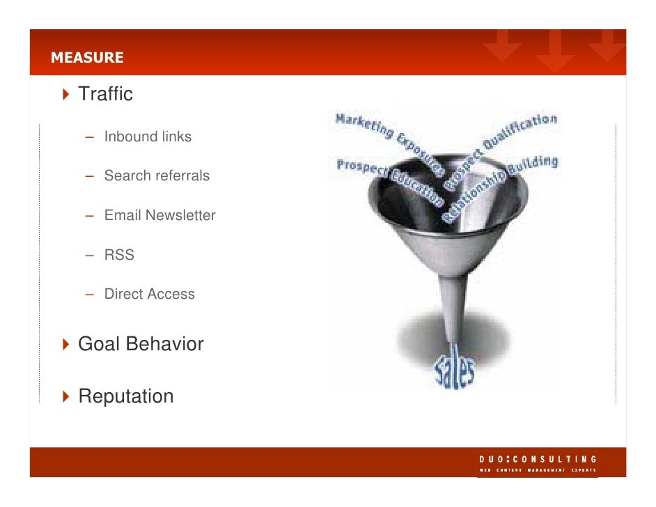MEASURE    Traffic     – Inbound links     – Search referrals     – Email Newsletter     – RSS     – Direct Access     Goa...