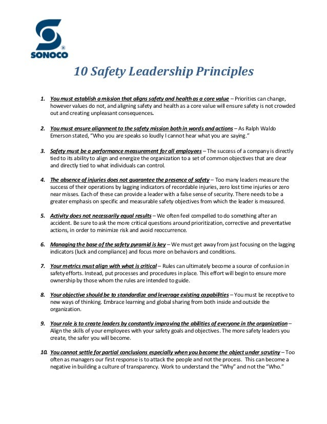 10 Safety Leadership Principles 1. You must establish a mission that aligns safety and health as a core value – Priorities...