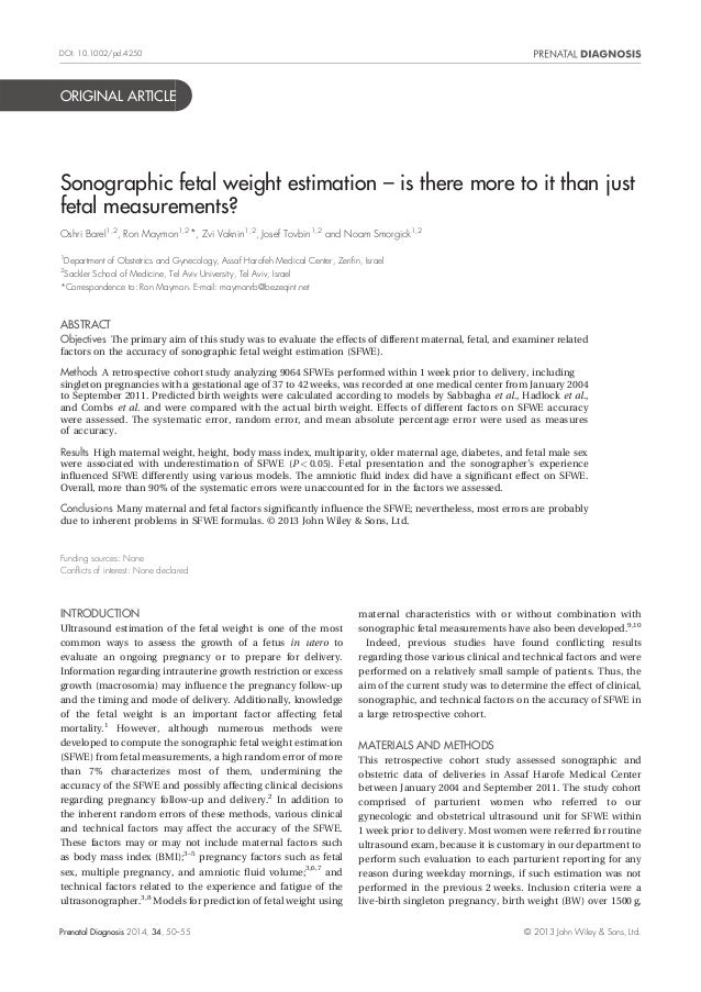 ORIGINAL ARTICLE Sonographic fetal weight estimation – is there more to it than just fetal measurements? Oshri Barel1,2 , ...