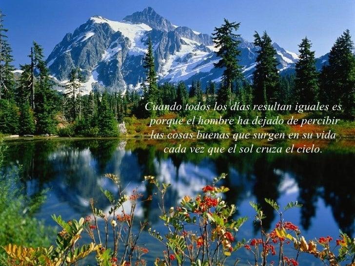 Cuando todos los días resultan iguales es porque el hombre ha dejado de percibir las cosas buenas que surgen en su vida  c...
