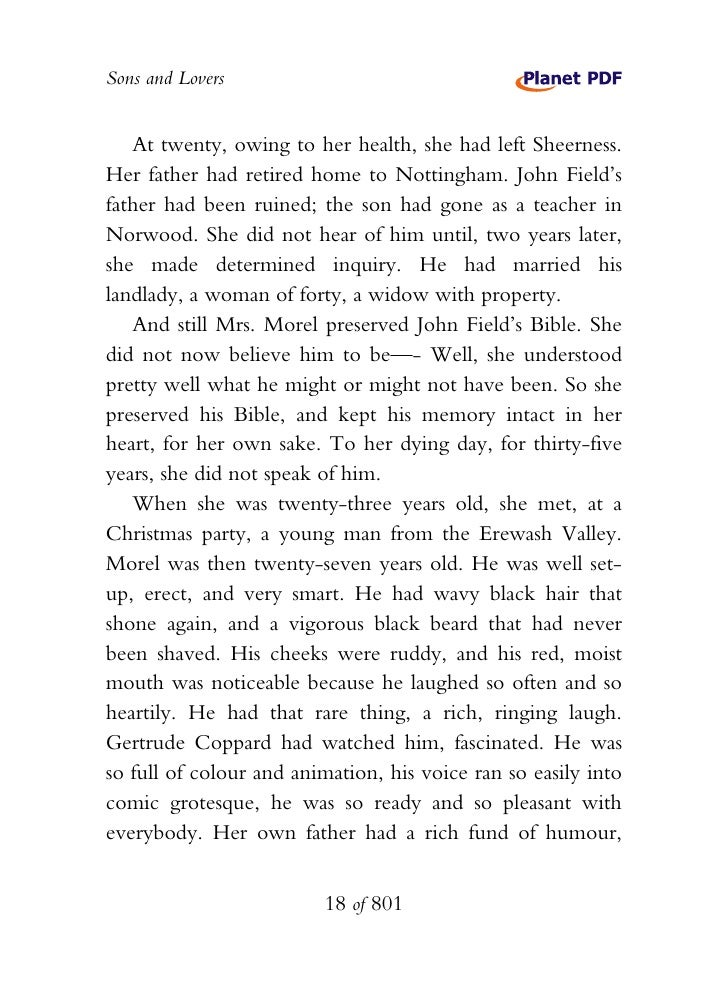 mrs morel and how she ruined But soon after her marriage to walter morel, she realizes the difficulties of  mrs morel's affections  • sons and lovers was made into a.