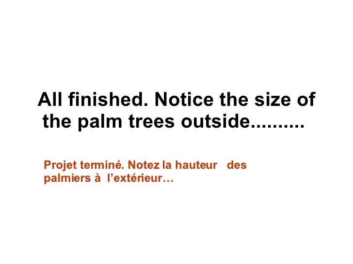 All finished.Notice the size of the palm trees outside..........  Projet terminé. Notez la hauteur  des palmiers à  l'ext...