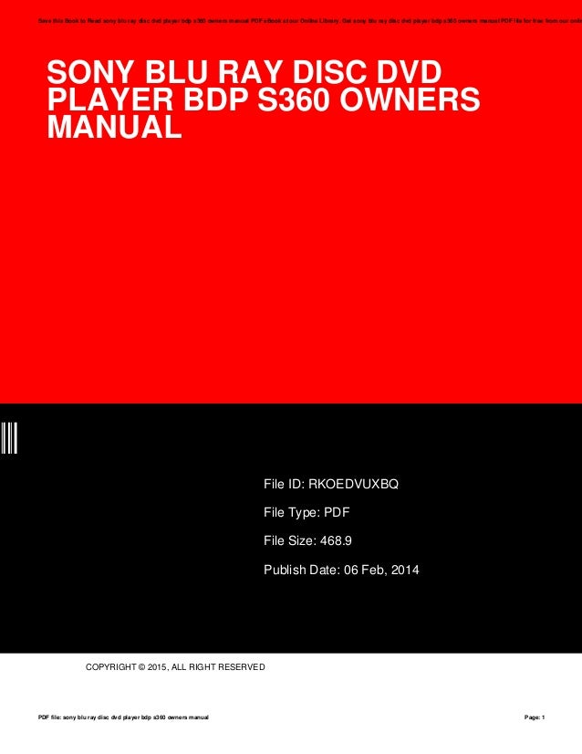 sony blu ray disc dvd player bdp s360 owners manual rh slideshare net sony bdp-s360 instruction manual sony bdp-s360 service manual
