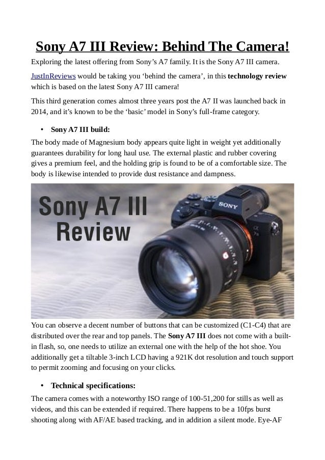 Sony a7 iii review: behind the camera!