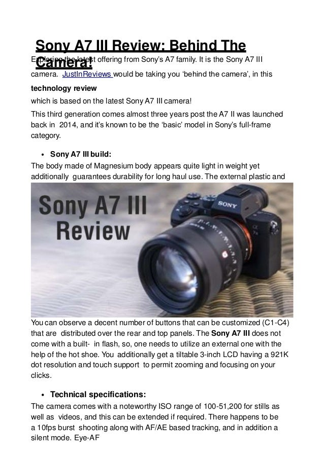 Sony a7 iii review behind the camera!