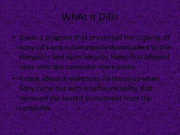 WhAt It DiD! <ul><li>It was a program that prevented the copying of Sony cd's and automatically downloaded to the computer...