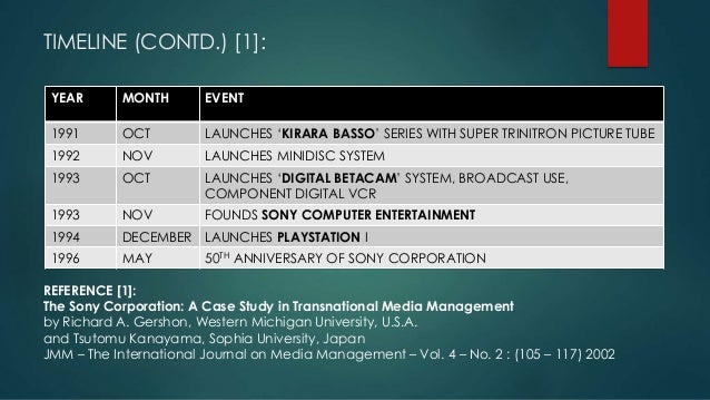 the sony corporation a case study in transnational media management Strategic benefits and risks of vertical integration in international media conglomerates and their effect on firm case study: sony corporation.