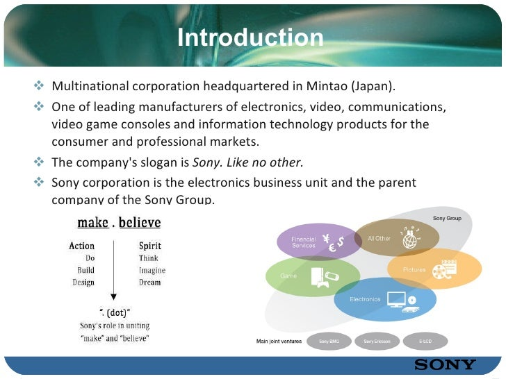 sony company case study Marketing strategy of sony corporation concept marketing strategy: strategic management decisions have multifunctional and multi-business consequences, this kind of decision require broad consideration of the firm's external and internal environments, and it may affect the firm's chance of prosperity.