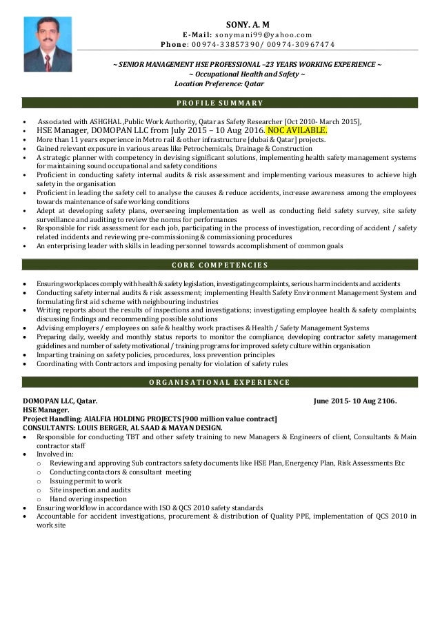 hse-manager-cv-1-638 Safety Officer Resume Sample Doc on