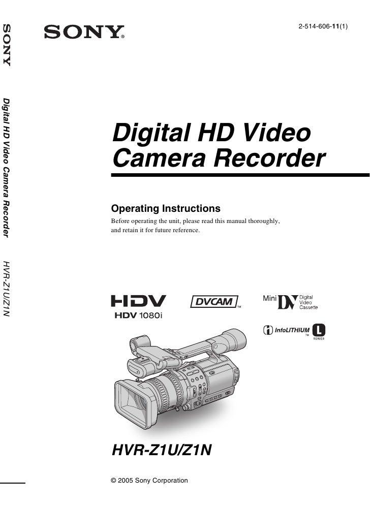 2-514-606-11(1) Digital HD Video Camera Recorder                                        Digital HD Video                  ...