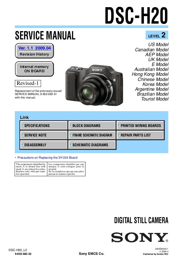 sony dsc h20 service manual level 2 ver 1 1 2009 04 rev 1 9 852 683 rh slideshare net sony cyber shot wx350 user manual sony cyber shot user manual dsc-h300