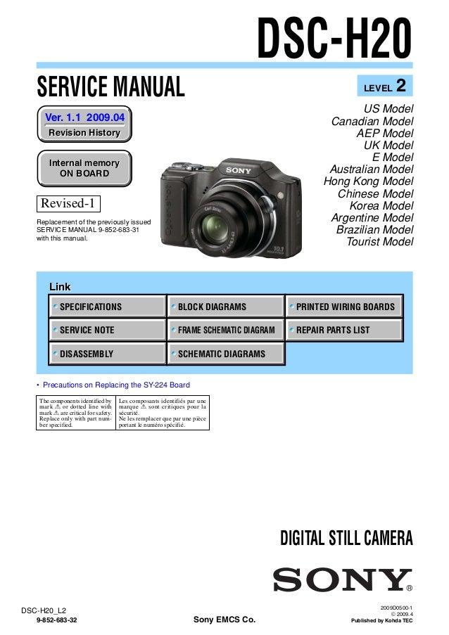 sony dsc h20 service manual level 2 ver 1 1 2009 04 rev 1 9 852 683 rh slideshare net sony dsc-h1 repair manual sony dsc-r1 repair manual