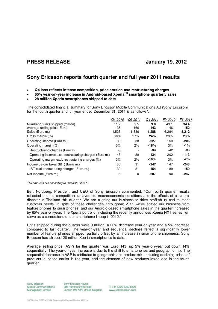 PRESS RELEASE                                                                January 19, 2012Sony Ericsson reports fourth ...