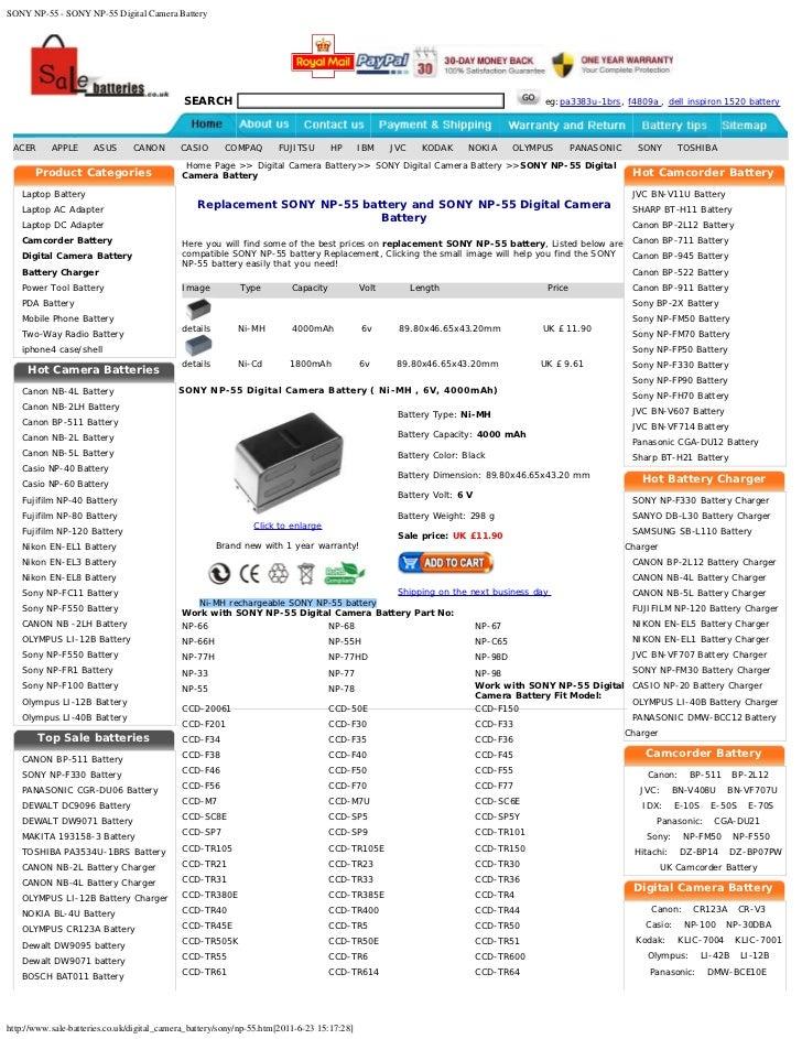 SONY NP-55 - SONY NP-55 Digital Camera Battery                                             SEARCH                         ...
