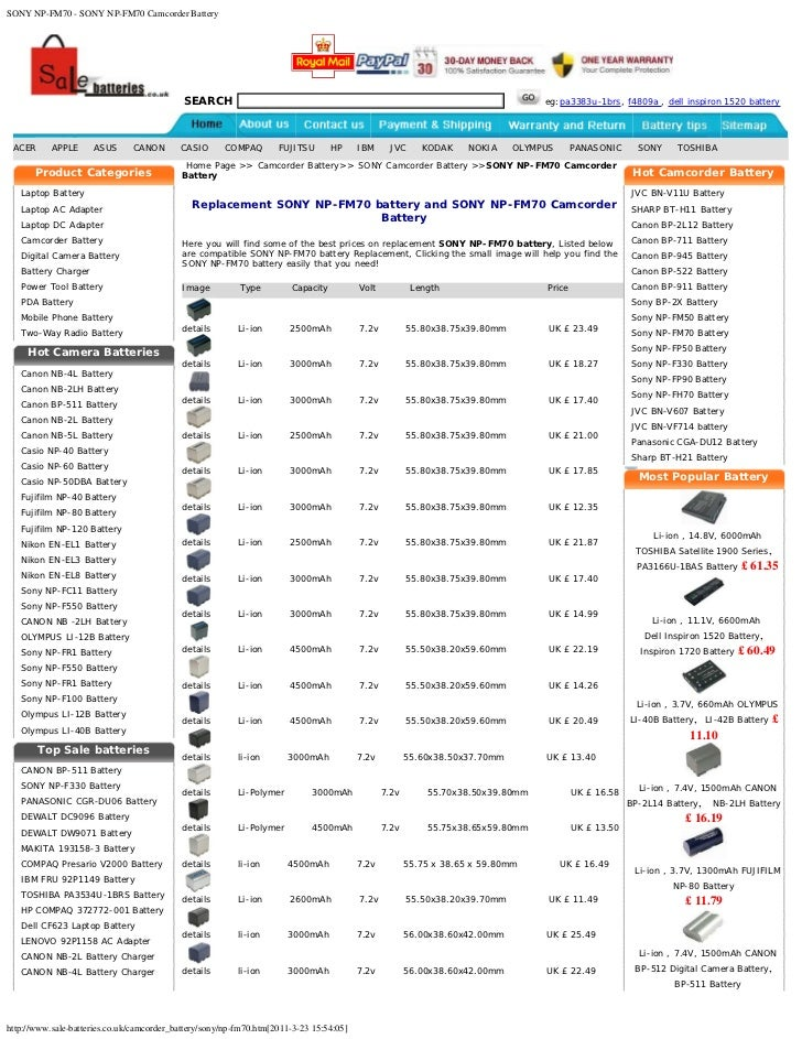 1300mAh 7.4V Li-ion Battery for Sony HVR-A1E