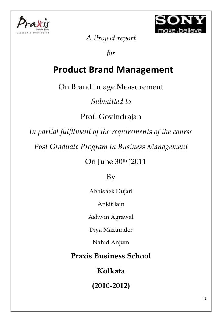 A Project report                          for        Product Brand Management         On Brand Image Measurement          ...