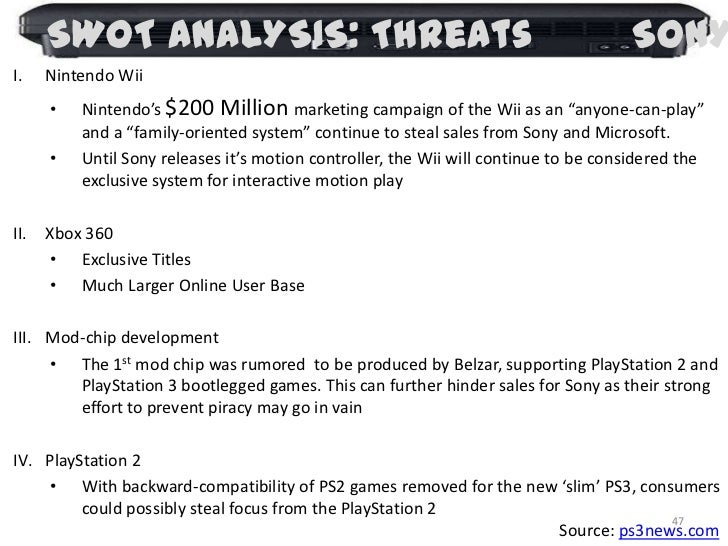 sony playstation 3 swot analysis Strength and weaknesses of vr (swot analysis) (selfoculus) submitted 3 years ago by lordmettwurst hi guys i'm currently writing my bachelor thesis about the.