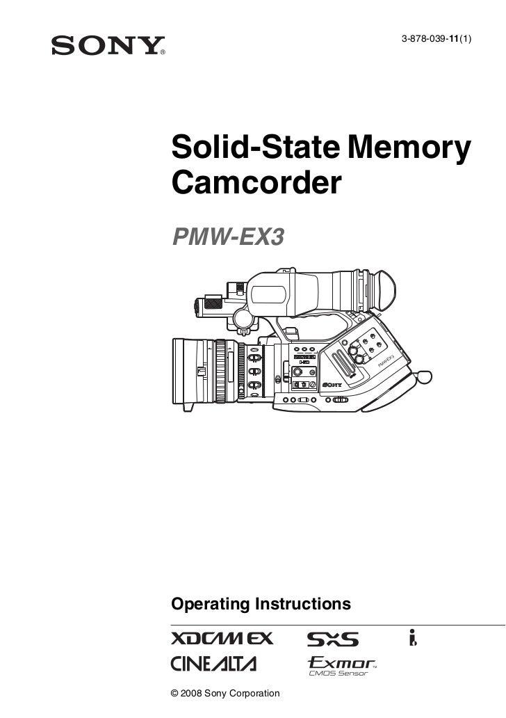 sony pmw ex3 operation manual rh slideshare net Sony PMW-EX3 Camera Sony EX3 Specs