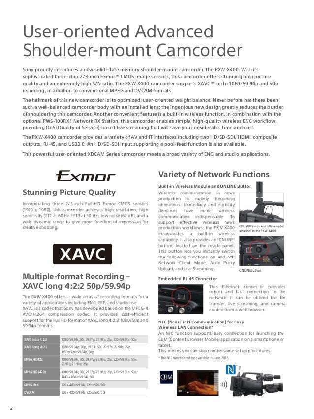 Sony PXW-X400 brochure Slide 2