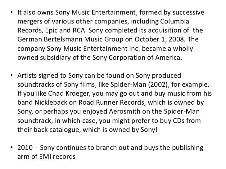Sony's development and vertical integration