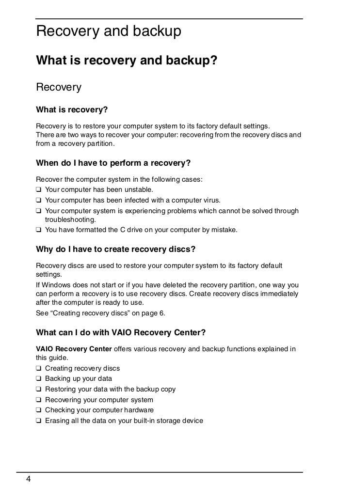 sony vaio recovery manual rh slideshare net Sony Vaio Windows XP Sony Vaio Wallpaper