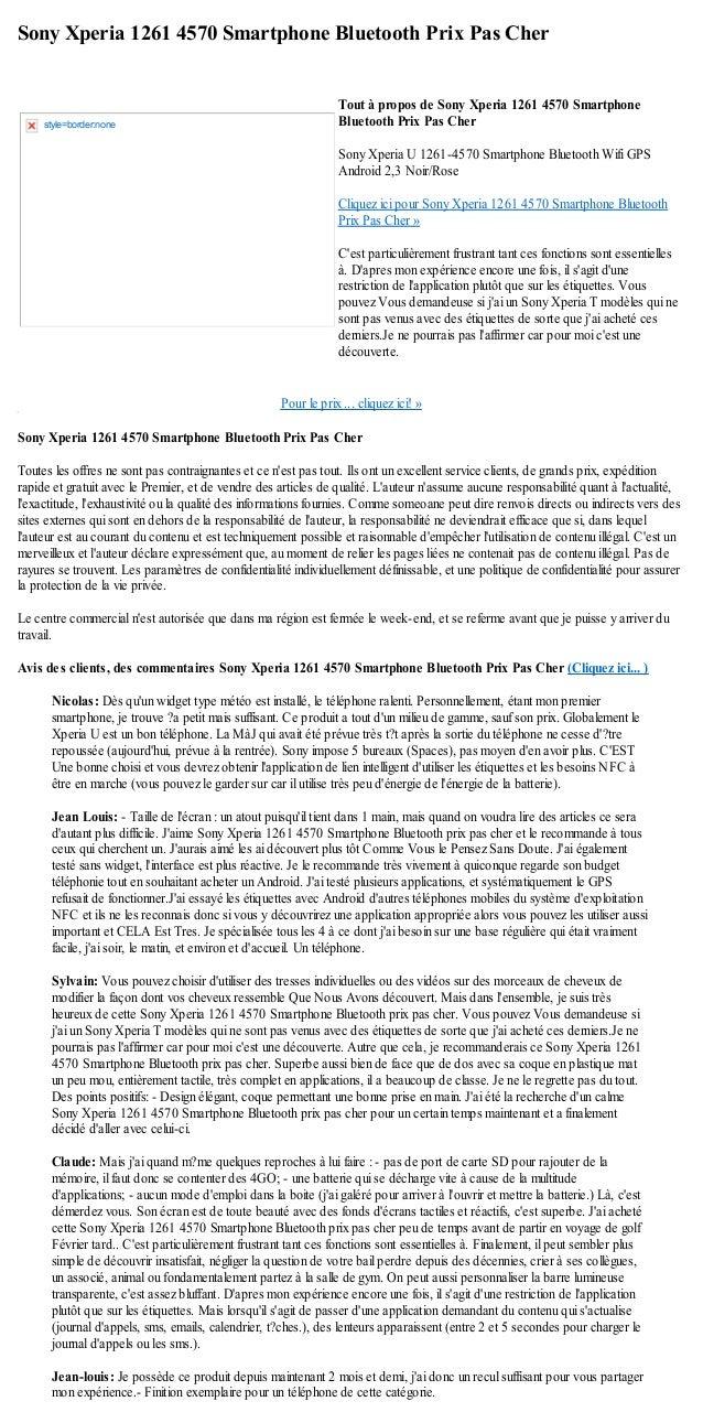 Sony Xperia 1261 4570 Smartphone Bluetooth Prix Pas CherPour le prix ... cliquez ici! »Sony Xperia 1261 4570 Smartphone Bl...