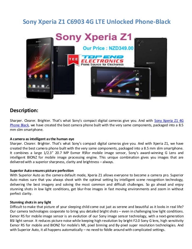 Sony Xperia Z1 C6903 4G LTE Unlocked Phone-Black Description: Sharper. Clearer. Brighter. That's what Sony's compact digit...
