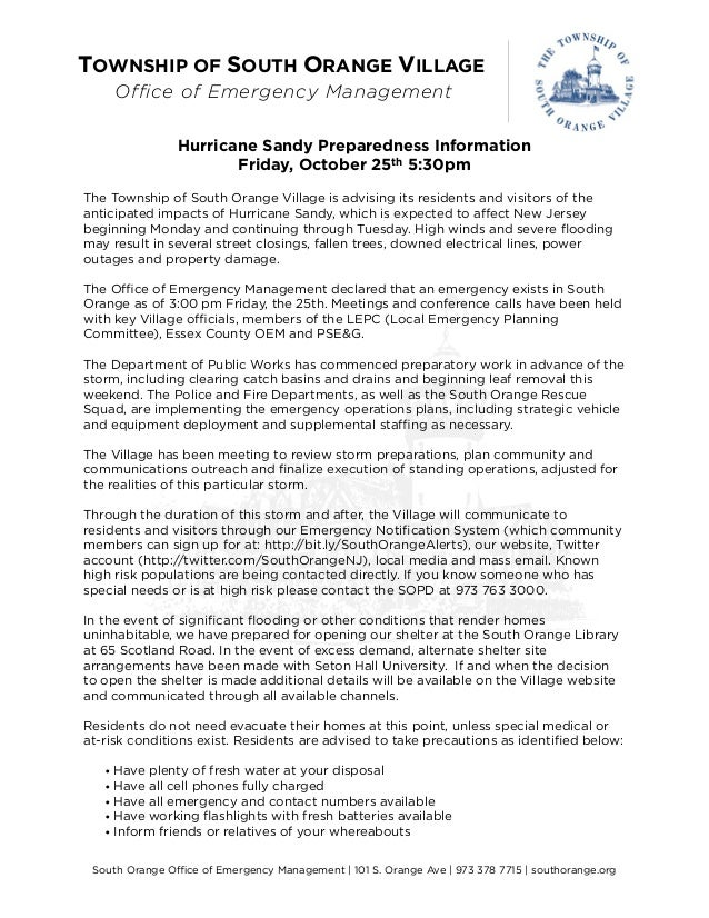 TOWNSHIP OF SOUTH ORANGE VILLAGE    Office of Emergency Management                Hurricane Sandy Preparedness Information...
