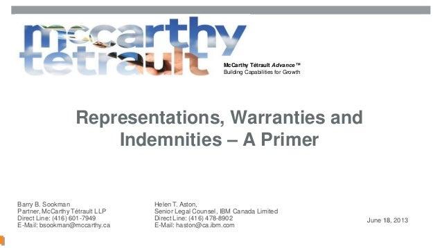 McCarthy Tétrault Advance™Building Capabilities for GrowthMcCarthy Tétrault LLP / mccarthy.ca / 12552613v2Representations,...