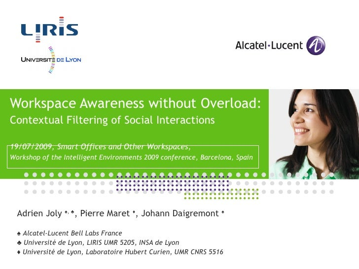 Workspace Awareness without Overload: Contextual Filtering of Social Interactions 19/07/2009,  Smart Offices and Other Wor...