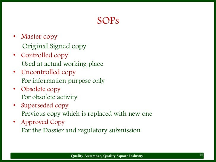Sop Why Sop Is Used General Principles Radiopharmaceutical