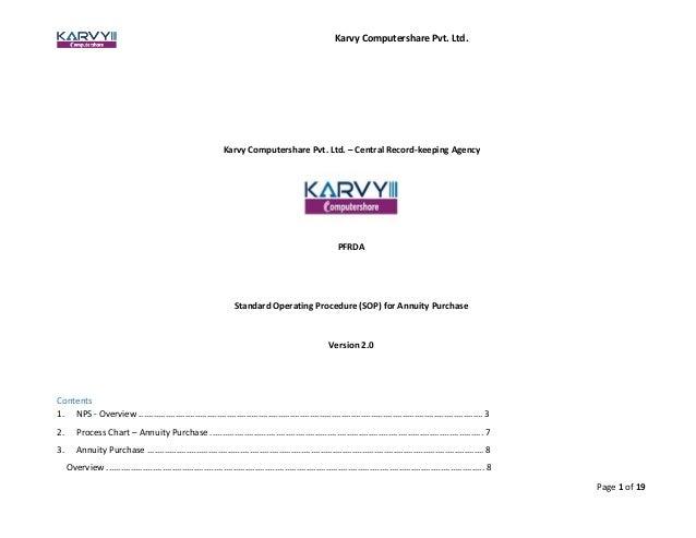 Standard Operating Procedure Sop For Annuity Purchase Karvy Nps