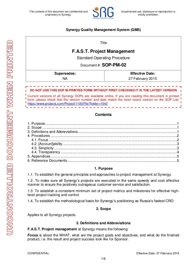 project management sop clinical research