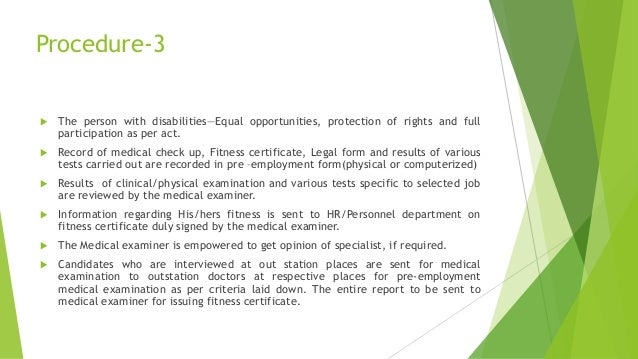 Sop pre-employment medical examination