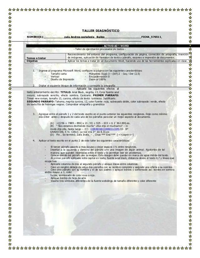 TALLER DIAGNÓSTICO NOMBRE(S):  yulu Andrea castañeda Builes  FICHA_576511  - ACTIVIDAD 1 W ORD - Taller de ejercitación pr...