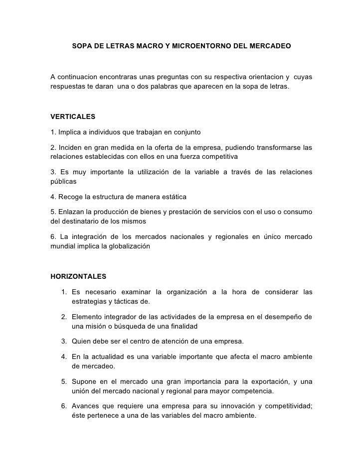 SOPA DE LETRAS MACRO Y MICROENTORNO DEL MERCADEO    A continuacion encontraras unas preguntas con su respectiva orientacio...
