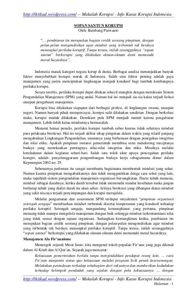 http://iktikad.wordpress.com/ -- Makalah Korupsi - Info Kasus Korupsi Indonesia                                SOPAN SANTU...
