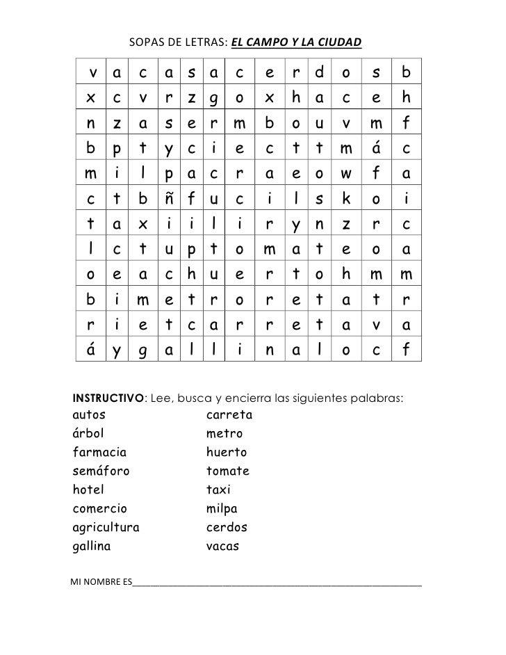 SOPAS DE LETRAS: EL CAMPO Y LA CIUDAD    v a       c     a s a          c      e    r d        o      s     b   x     c   ...