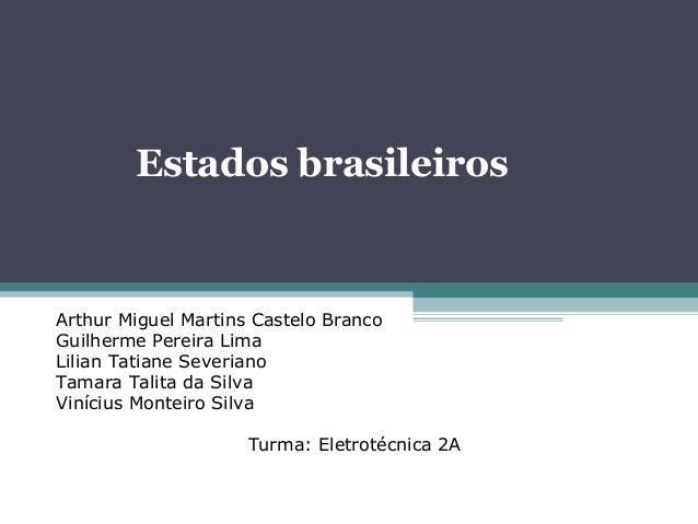 Estados brasileirosArthur Miguel Martins Castelo BrancoGuilherme Pereira LimaLilian Tatiane SeverianoTamara Talita da Silv...