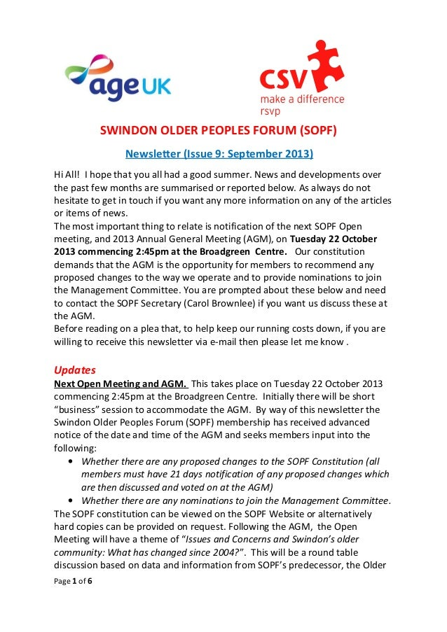 SWINDON OLDER PEOPLES FORUM (SOPF) Newsletter (Issue 9: September 2013) Hi All! I hope that you all had a good summer. New...