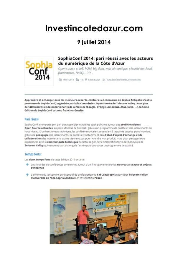 Investincotedazur.com 9 juillet 2014