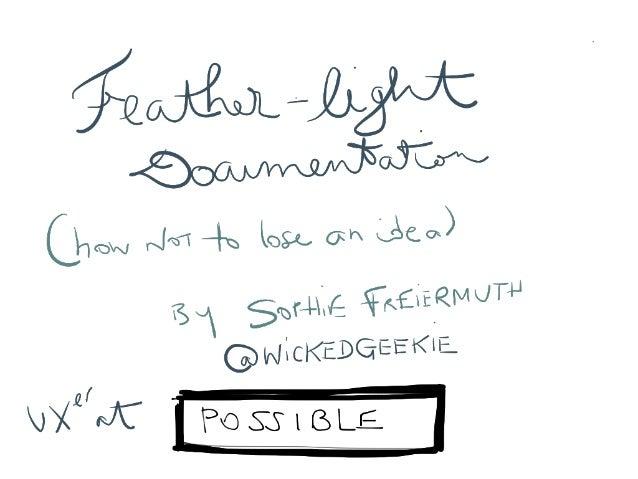 Sophie Freiermuth - Featherlight-documentation: how to capture ideas